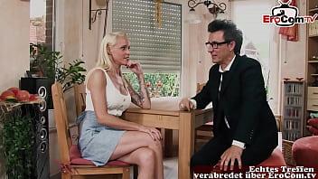 German blonde skinny milf fucked on the table 25 min