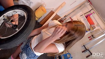Sexy Teen in Knee High Socks Rides Cock in a Repair shop 20 min
