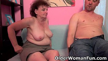 Grandma big boob Chubby grandma enjoys his cock in her mouth and pussy