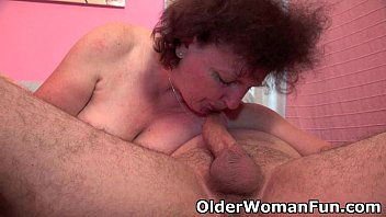 Chubby grandma enjoys his cock in her mouth and pussy Image