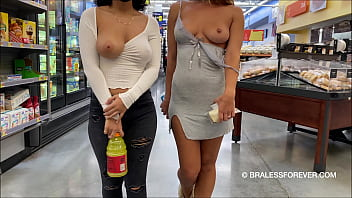 Flashing huge tits while shopping