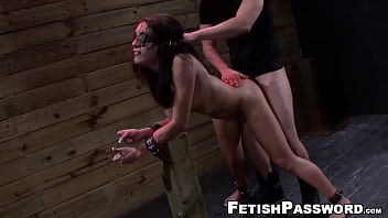 Restrained sub Ava Kelly drools on big cock after plow