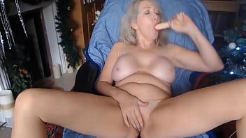 Gray-haired granny housewife
