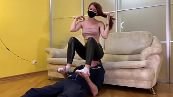 Cruel Domina Sofi In Black Leggings - Full Weight Facesitting and Uses Her Slave Like a Chair (Preview)