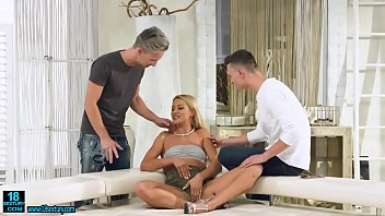 Blonde babe gets both of her holes fucked