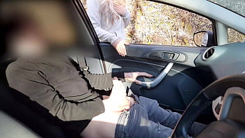 Public cock flashing - Guy jerking off in car in park was caught by a runner girl who helped him cum