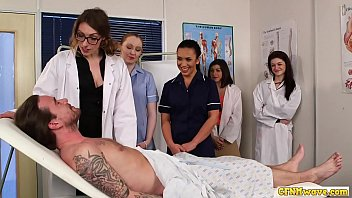 Group blow clit - Nurses blowing cfnm cock in group domination