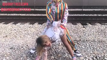 I fucked the clown nose Clown fucks girl on train tracks