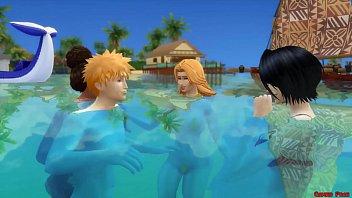 Bleach En La Playa Rukia Follada Por Renji Fuertemente Anime Hentai Parodia