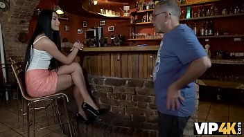 VIP4k. Horny chick cheats on her boyfriend with his mature father 10 min