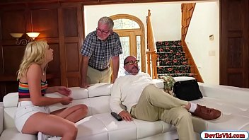 Suck an old guy dick 18yo chick fucked hard by an old guy