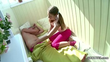 Petite Step-Sister Wake up Brother with Blow and get Fuck