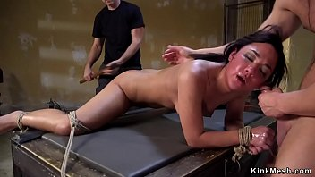 Slave in stockings spanked in traning