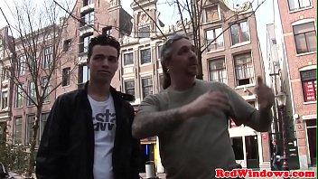 Real Dutch prostitute enjoys cumstache session