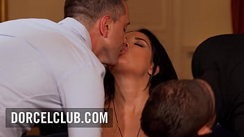 Two men for the hot french brunette Anissa Kate