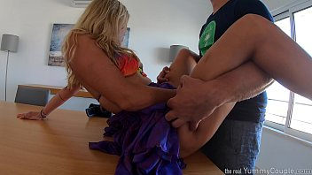 horny MILF fucked and cum showered on the table - YummyCouple