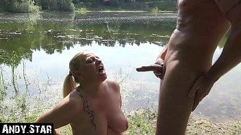 Horny Milf drinks Pee outdoor