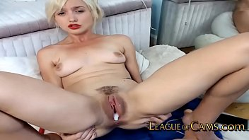 Petite Blonde College Girl Pushes Vibrator Against Her Clit