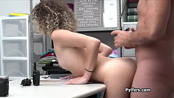 Drilling curly petite thief at the office