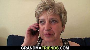 Horny old granny double fuck