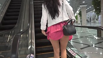 No panties shopping public flashing upskirt 3 min