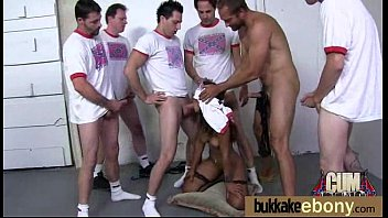 First time ebony with a group of white dicks 16