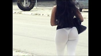 Transparent Pants and Showing the Panties at the Bus Stop