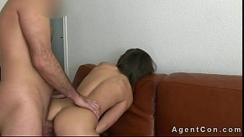 Busty brunette amateur fucked on leather couch