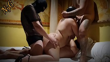 Gangbang with mask - I get fucked in a hotel by a young follower, a mature man and my husband - I get fucked hard, anal and double penetration - part 2/5 -  www.ninfaygolfo.com