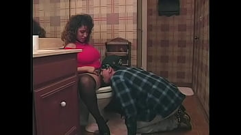 Muscular latin guy doggystyles experienced brunette in the bathroom