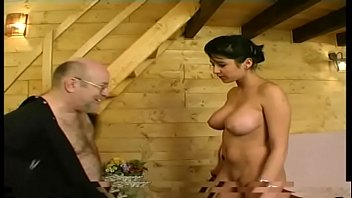 FRENCH pretty young brunette big boobs fucked by an old men