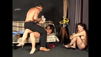 Nice threesome with two chicks and a man