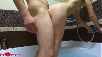 Taking a shower, blowjob hot standing sex in the bathroom, wet soapy bath