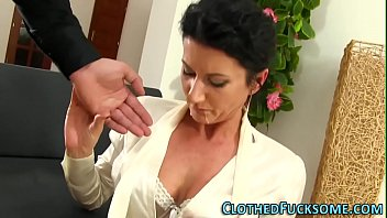 Topless clothed handjobs Elegant lady takes facial