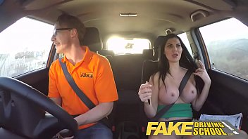 Thumb drive driver - Fake driving school busty examiner passes excitable young man on his test