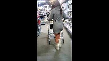 Flashing my pussy and ass in a store