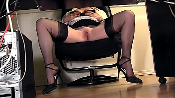 Voyeurism ameture under - Leggy secretary under desk voyeur cam masturbation