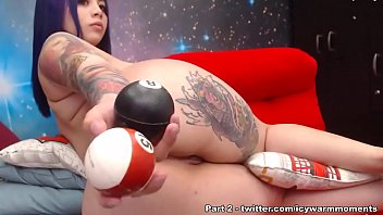 Enjoying the biggest Dildo in ass plus putting pool balls in asshole - Part 1
