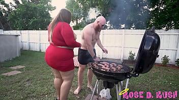 BBW Babe Rose Kush Licks Nipples While Old Man BBQ