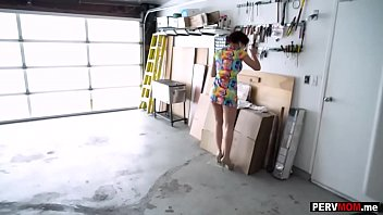 Locked with my MILF stepmom in the garage lead to sex