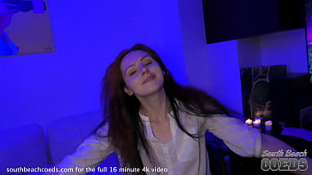 black light asthetic party girl lea blasting herself with thick glass dildo