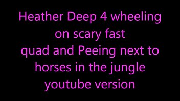 Heather Deep 4 wheeling on scary fast quad and Peeing next to horses in the jungle Vorschaubild