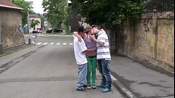 Risky street sex threesome with a young cute girl Alexis Crystal and 2 teen guys