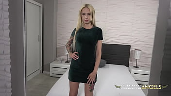 Petite blonde with big tits has some fun with a special dildo