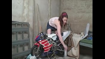 Young hot girl fucks the old horny neighbors in the workshop. 25 min