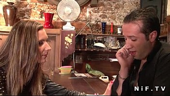 Sweet french brunette hard anal fucked in a bar 6 min
