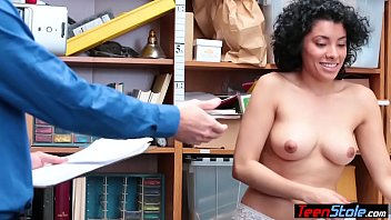 Busty latina chick fucked on cctv by a security guard
