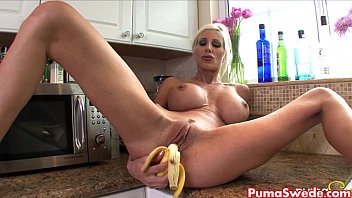 Adult soft food diet Puma swede rubs banana all over her