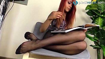 Rht pantyhose - Redhead feet in rht black pantyhose