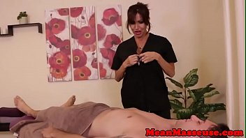 Busty masseuse wanking cock in cbt action
